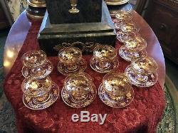 10 Edwardian Hand Painted Gilt Sherbet Cups with Saucers Vanderbilt Estate