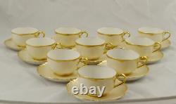10 Haviland Limoges Gold Trim Cups & Saucers Ranson Schleiger H722 France