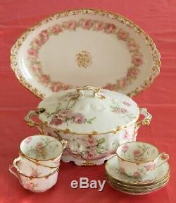 11 Piece Set Haviland Limoges Cup Saucer Tureen Platter Pink Roses Double Gold