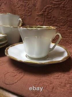 12 Sets Hand Painted Gold Trim Old Paris Porcelain Cup & Saucers Wedding Band