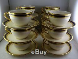 12 Vintage Lenox China P-72 Flat Cup & Saucer Sets Cobalt & Gold