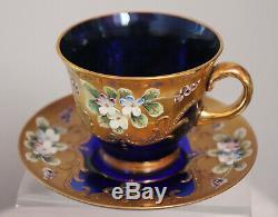 12pc set of Bohemian 6 cups & 6 Saucers Cobalt & Gold Enamel Flowers Demitasse