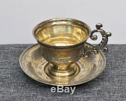 1860 Imperial Russian 84 Silver Tea Cup Saucer Gold Wash