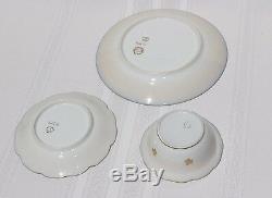 18pc. Cobalt Blue LIMOGES Porcelain ramekin custard cup saucer salad plate lot