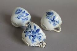 18pc Meissen Blue Flowers Insects Mocha Cup, Saucer & Plate Sets 1st Gold Rim