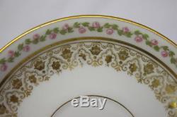 18pc Vintage J. P. L. Jean Pouyat Limoges ROSE GARLAND & GOLD Cup & Saucer Set