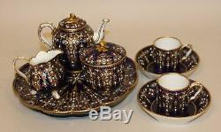 18th Century Sevres Cobalt Blue Gold Jeweled Tea Coffee Service Tray Cup Saucer