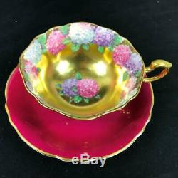 1950s RARE Heavy Gold Centers Floating HYDRANGEA Garland Cup Saucer A1570/5