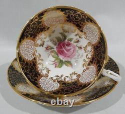 1960 PARAGON PINK ROSE on BLACK PANELS CUP & SAUCER Extensive Gold Filigree MINT