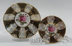 1960s PARAGON DARK PINK ROSE CUP & SAUCER Black Panels and Heavy Gold Filigree