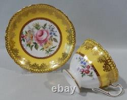 1960s PARAGON LARGE PINK ROSE BOUQUET CUP & SAUCER BUTTER YELLOW & GOLD FILIGREE