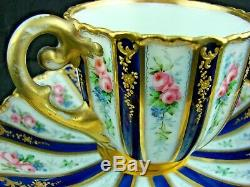 19thC Alexander II Imperial Russian Porcelain Cup & Saucer, Blue, Gold, Roses