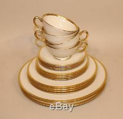 20 Pcs Lenox Tuxedo J-33 Gold China 4 X 5 Dinner Salad Bread Plate Cup & Saucer
