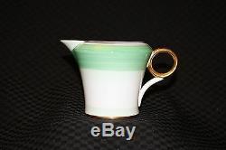 20pc Vintage SHELLEY Green & Gold #12845 Cup, Saucer & Dessert Set, England
