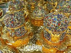 24Pc Turkish Coffee Set Cup Saucer Tray Colourful Crystals Made with Swarovski