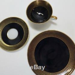 24 Pc Hutschenreuther Hohenberg Cobalt Blue Gold Tea Cup Saucer Set 1814 Germany