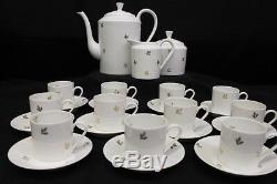 25 Pc Vintage Limoges China Gold Leaf Pattern Demitasse Cup & Saucer Set, France