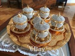 27 Pc Turkish Coffee NESCAFE Cup Saucer Wavy Tray Made with Swarovski Set GOLD