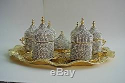 27-Pc-Turkish-Greek-Arabic-Coffee-Espresso-Cup-Saucer Swarovski Set -GOLD