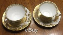 2 Royal Crown Derby Aves Gold Footed Cup And Saucer 2 3/8 Made In England