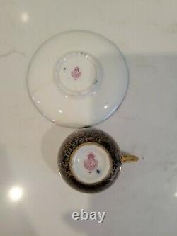 2 Royal Worcester Demitasse Cups & Saucers Cobalt & Gold Antique England