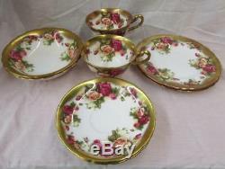2 Sets Vintage Royal Chelsea Golden Rose Tea Cup Saucer Dessert Plate & Bowl
