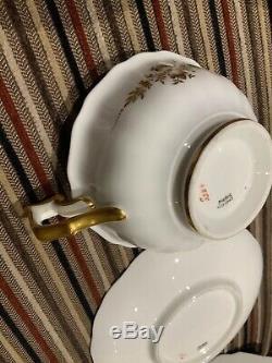 2 X Antique Cauldon Tea Cup Saucer Plate Trio, Roses, Gold Gilt Detail