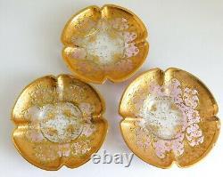 3 Gorgeous Antique Moser Bohemian Cranberry Gold Enamel Demitasse Cups & Saucers