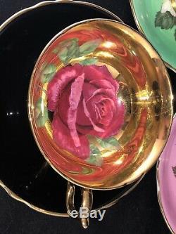 3 Paragon Floating Rose Green Pink Black Gold Cup & Saucer