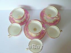 3 Trios Antique English Porcelain China Pink Gold Bow Cups & Saucers