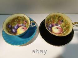 3 x Aynsley H/P Orchard Gold / Fruit Cups & Saucers Jones/Brunt