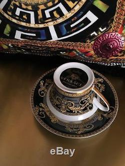 $400 Versace Prestige Gala Cup Saucer Set Gold Greek Key Rosenthal Sale