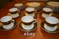 40 Pcs Minton Bone China Grandee Service for 8 Plates Tea Cup Saucer Black Gold