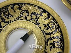 4 Antique Lenox Gold Encrusted Demitasse Coffee Cups Saucers Cobalt 1306 K14B