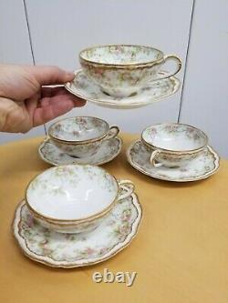 4 Antique Theodore Haviland Limoges Cup & Saucer-Double Gold, Pink Floral Rose