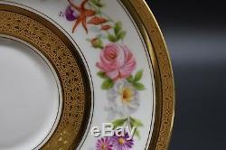 4 Charles Ahrenfeldt Limoges Mirelle Flowers Gold Bouillon Cups & Saucers AHR706