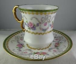 4 D & C Limoges Gilt Gold withFloral & Bows Cup & Saucer Sets Antique Porcelain