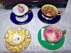 4 -SETS CUP SAUCERS AMAZING! AYNSLEY England 4 CABBAGE ROSE SIGNED BAILEY ++