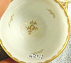 4 Sets Antique Hand Painted CAPODIMONTE ARMORIAL Cups & Saucers Bas Relief