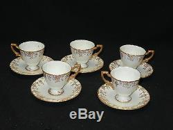 5 pcs VINTAGE ROYAL CROWN DERBY A775 GOLD GRAPES FOOTED DEMITASSE CUP & SAUCER