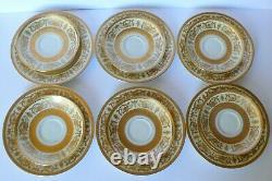 6 Antique Haviland Limoges Raised Gold Cups & Saucers Dessert Plates Trios