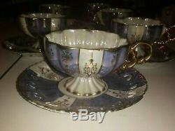 6 ROYAL SEALY Purple Gold Trim LUSTERWARE China Tea Cups & Saucers JAPAN antique