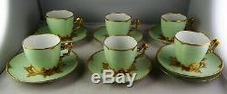 6 T & V Limoges Antique Porcelain Green & Gold Demitasse Cup & Saucer Sets