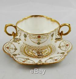 8 Antique Aynsley Gold & Jeweled Bouillon Soup Bowls Cups & Saucers England Exc