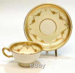 8 Lenox Porcelain Gold Cup & Saucers, Pattern B10, circa 1910