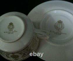 9 Royal Worcester Fine Bone China England Hyde Park Gold Cups & Saucers