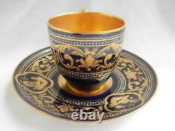 ANTIQUE AUSTRIAN VIENNA PORCELAIN COFFEE CUP AND SAUCER, 19th CENTURY