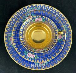 ANTIQUE FRANZISKA HIRSCH painted DRESDEN GOLD ENCRUSTED CUP SAUCER PLATE TRIO