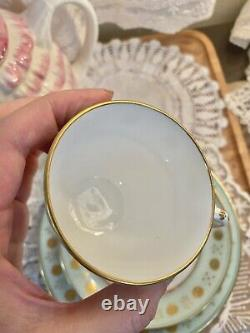 ANTIQUE MINTON ENAMELED CUP & SAUCER Plate Turquoise Blue Gold Encrusted Trio