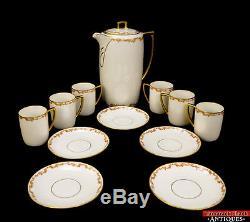 ANT Chocolate Pot Set Cups Saucer MZ Austria JHR Royal Porcelain Gold Floral L5Y